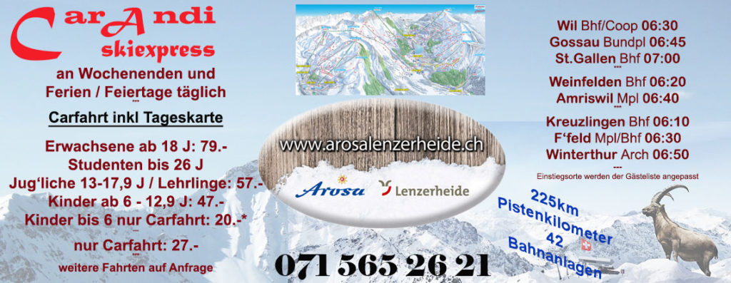 skiexpress lenzerheide arosa by car 2017/2018