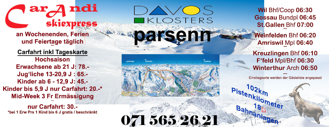 Flyer Skiexpress Davos Parsenn by car